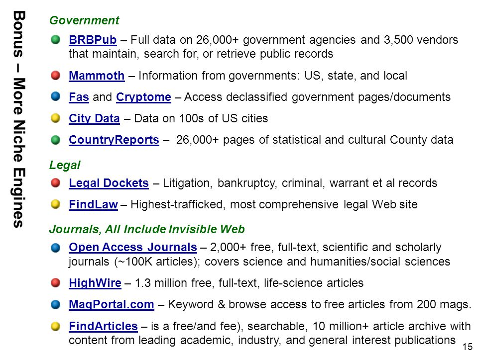 15 BRBPubBRBPub – Full data on 26,000+ government agencies and 3,500 vendors that maintain, search for, or retrieve public records MammothMammoth – Information from governments: US, state, and local FasFas and Cryptome – Access declassified government pages/documentsCryptome City DataCity Data – Data on 100s of US cities CountryReportsCountryReports – 26,000+ pages of statistical and cultural County data Legal DocketsLegal Dockets – Litigation, bankruptcy, criminal, warrant et al records FindLawFindLaw – Highest-trafficked, most comprehensive legal Web site Open Access JournalsOpen Access Journals – 2,000+ free, full-text, scientific and scholarly journals (~100K articles); covers science and humanities/social sciences HighWireHighWire – 1.3 million free, full-text, life-science articles MagPortal.comMagPortal.com – Keyword & browse access to free articles from 200 mags.