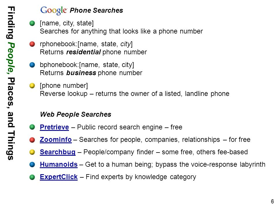 6 Phone Searches [name, city, state] Searches for anything that looks like a phone number rphonebook:[name, state, city] Returns residential phone num