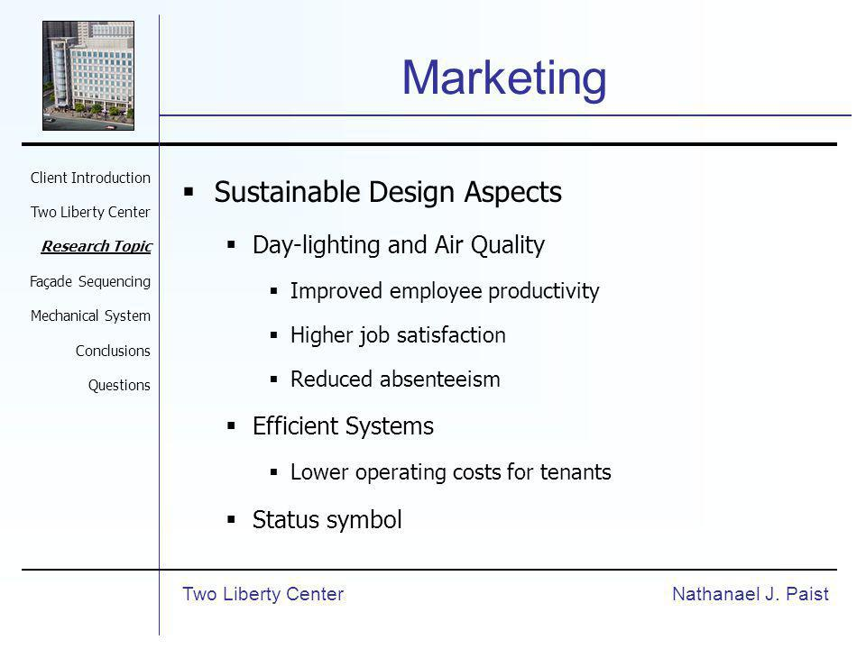 Marketing Sustainable Design Aspects Day-lighting and Air Quality Improved employee productivity Higher job satisfaction Reduced absenteeism Efficient Systems Lower operating costs for tenants Status symbol Nathanael J.
