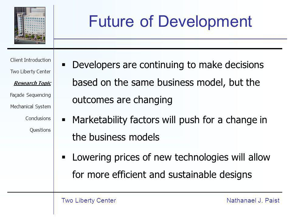 Future of Development Developers are continuing to make decisions based on the same business model, but the outcomes are changing Marketability factor