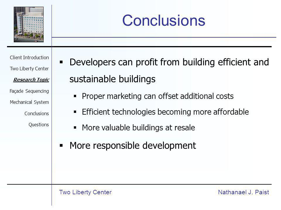 Conclusions Developers can profit from building efficient and sustainable buildings Proper marketing can offset additional costs Efficient technologies becoming more affordable More valuable buildings at resale More responsible development Nathanael J.