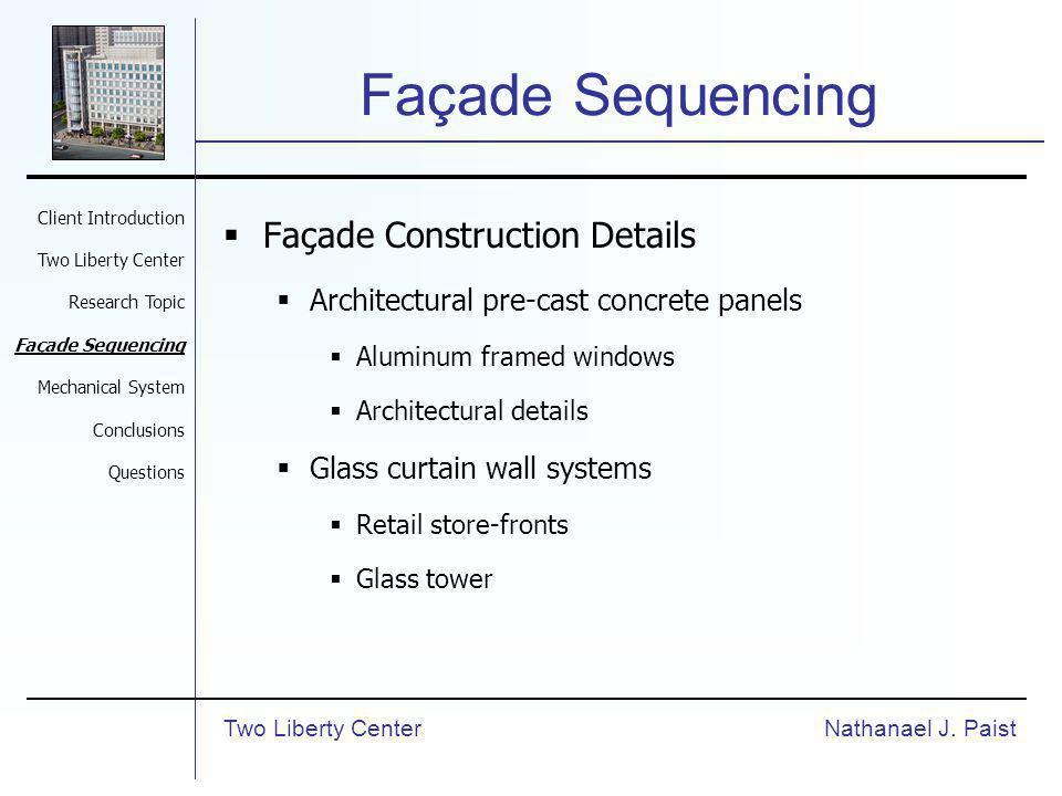 Façade Sequencing Façade Construction Details Architectural pre-cast concrete panels Aluminum framed windows Architectural details Glass curtain wall