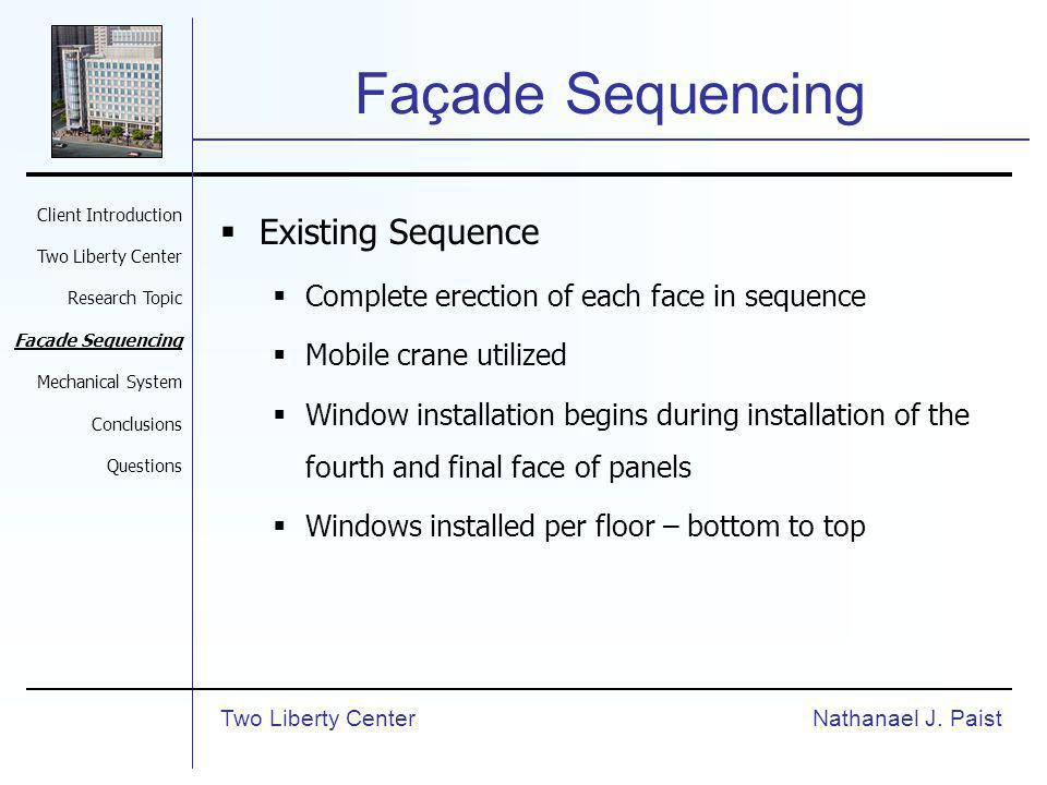 Façade Sequencing Existing Sequence Complete erection of each face in sequence Mobile crane utilized Window installation begins during installation of the fourth and final face of panels Windows installed per floor – bottom to top Nathanael J.