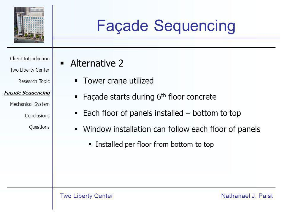 Façade Sequencing Alternative 2 Tower crane utilized Façade starts during 6 th floor concrete Each floor of panels installed – bottom to top Window installation can follow each floor of panels Installed per floor from bottom to top Nathanael J.