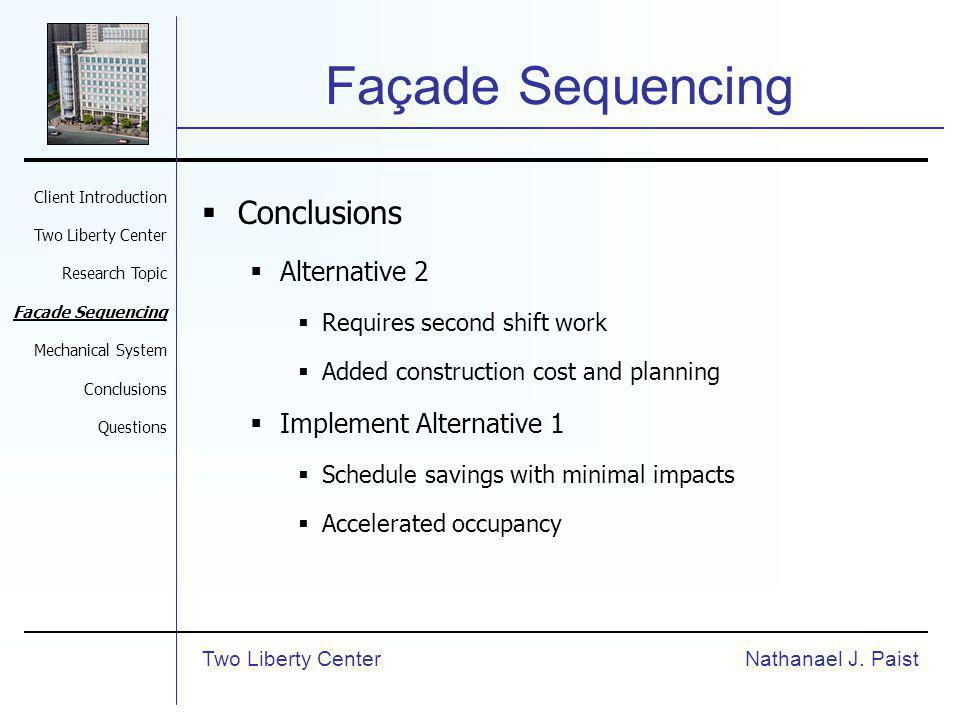Façade Sequencing Conclusions Alternative 2 Requires second shift work Added construction cost and planning Implement Alternative 1 Schedule savings with minimal impacts Accelerated occupancy Nathanael J.