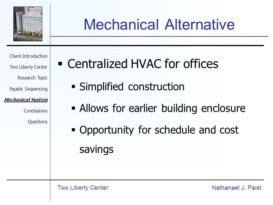 Mechanical Alternative Centralized HVAC for offices Simplified construction Allows for earlier building enclosure Opportunity for schedule and cost savings Nathanael J.