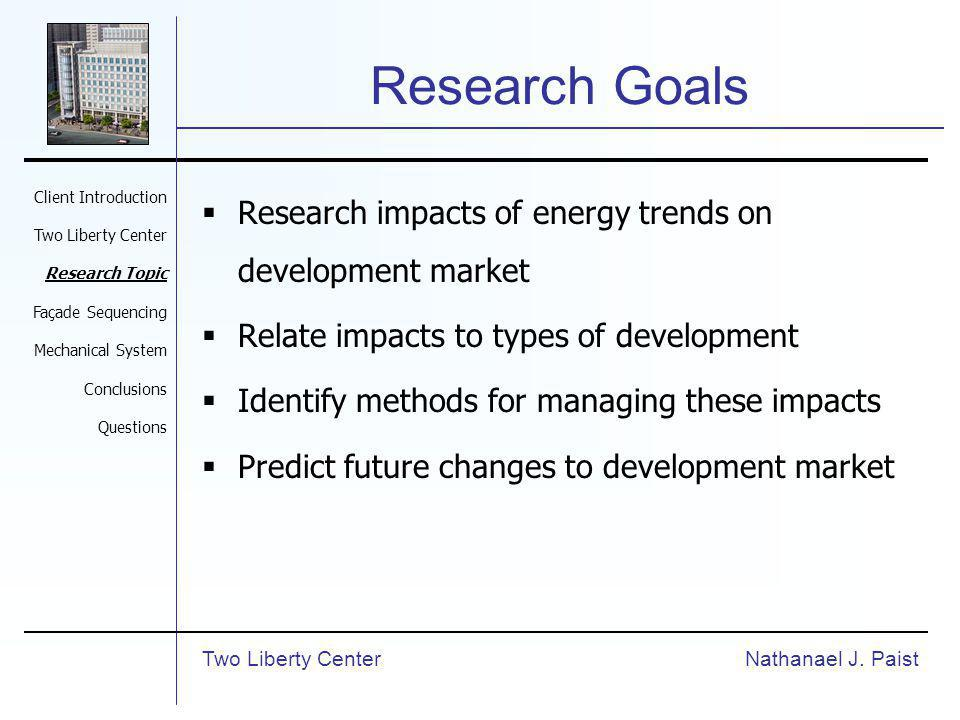 Research Goals Research impacts of energy trends on development market Relate impacts to types of development Identify methods for managing these impacts Predict future changes to development market Nathanael J.