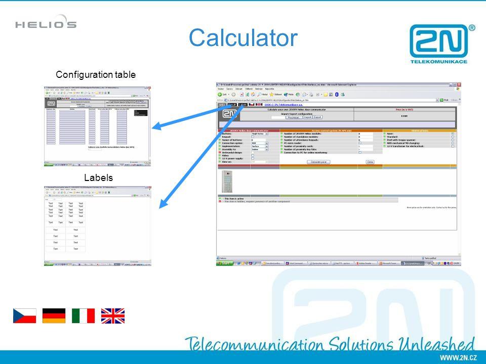 Calculator Configuration table Labels