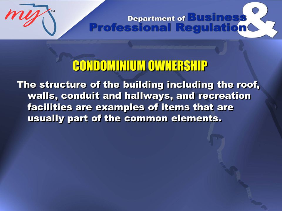 The operation of a condominium is carried out through its association, usually a not-for-profit corporation.