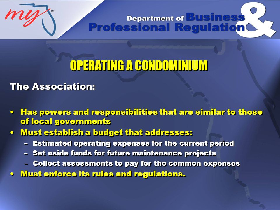 The Association: Has powers and responsibilities that are similar to those of local governments Must establish a budget that addresses: –Estimated operating expenses for the current period –Set aside funds for future maintenance projects –Collect assessments to pay for the common expenses Must enforce its rules and regulations.