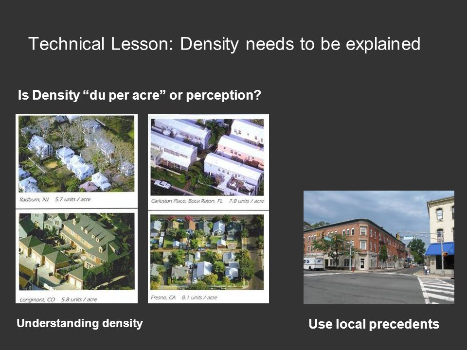 Technical Lesson: Density needs to be explained Understanding density Is Density du per acre or perception.