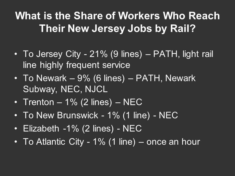 What is the Share of Workers Who Reach Their New Jersey Jobs by Rail? To Jersey City - 21% (9 lines) – PATH, light rail line highly frequent service T