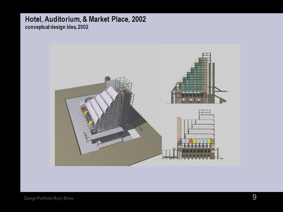 Design Portfolio Roxy Binno 9 Hotel, Auditorium, & Market Place, 2002 conceptual design Idea, 2002