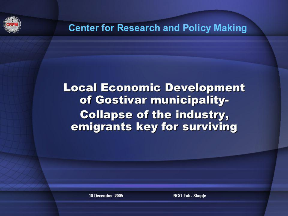 10 December 2005NGO Fair- Skopje Center for Research and Policy Making Local Economic Development of Gostivar municipality- Collapse of the industry,