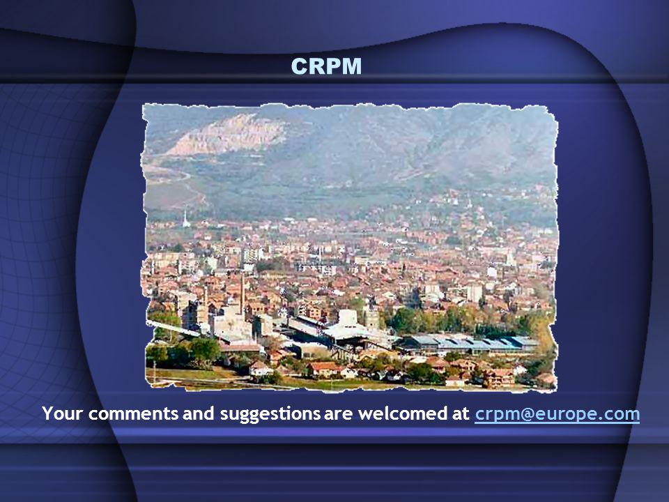 CRPM Your comments and suggestions are welcomed at crpm@europe.comcrpm@europe.com