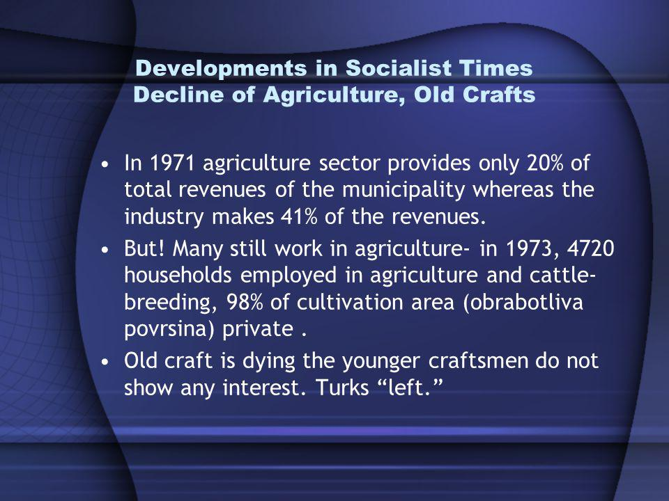 Developments in Socialist Times Decline of Agriculture, Old Crafts In 1971 agriculture sector provides only 20% of total revenues of the municipality whereas the industry makes 41% of the revenues.