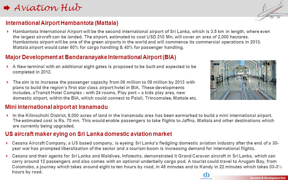 Hambantota International Airport will be the second international airport of Sri Lanka, which is 3.5 km in length, where even the largest aircraft can