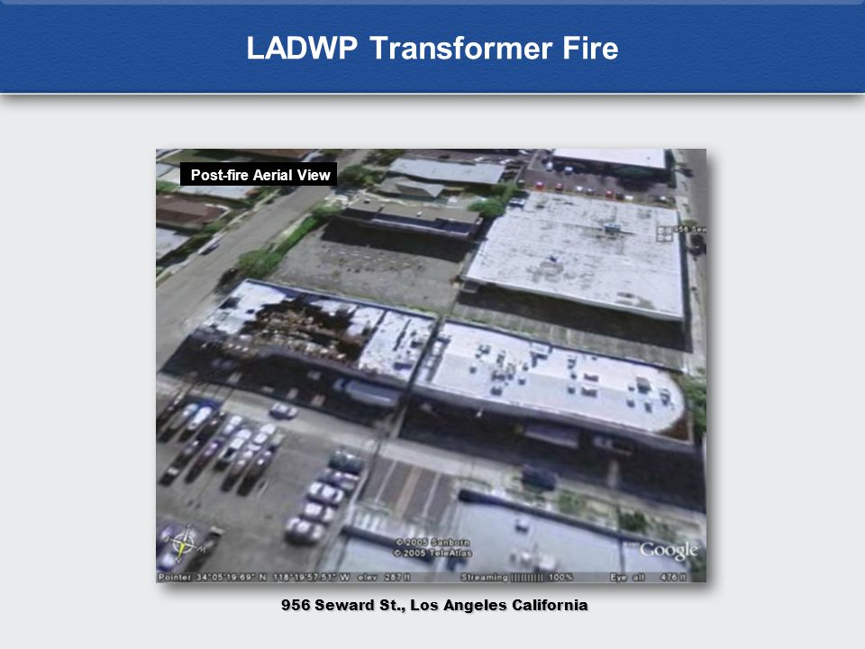 LADWP Transformer Fire 956 Seward St., Los Angeles California Post-fire Aerial View