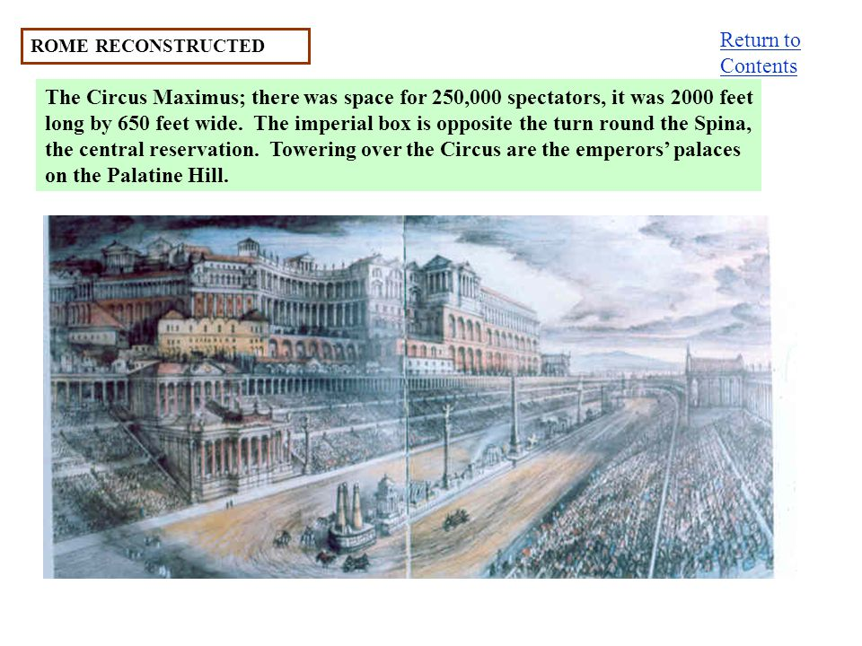 ROME RECONSTRUCTED The Circus Maximus; there was space for 250,000 spectators, it was 2000 feet long by 650 feet wide. The imperial box is opposite th