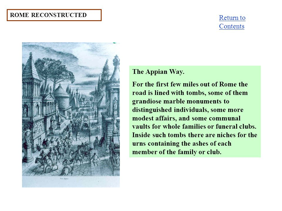 ROME RECONSTRUCTED The Appian Way.