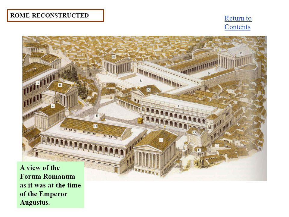 ROME RECONSTRUCTED A view of the Forum Romanum as it was at the time of the Emperor Augustus.