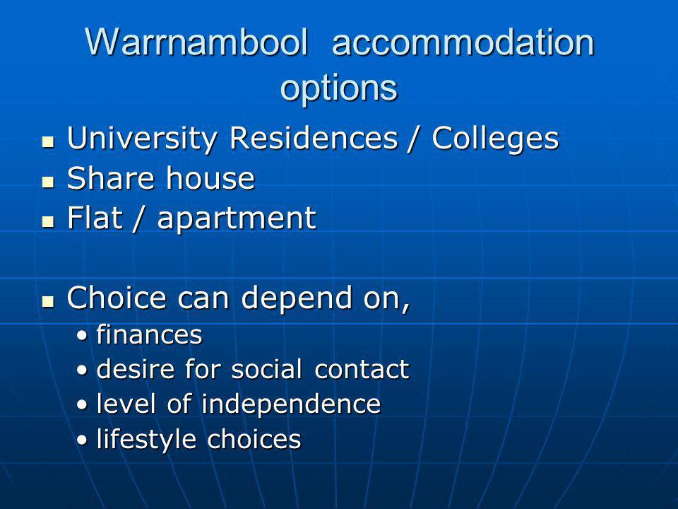 Warrnambool accommodation options University Residences / Colleges University Residences / Colleges Share house Share house Flat / apartment Flat / ap
