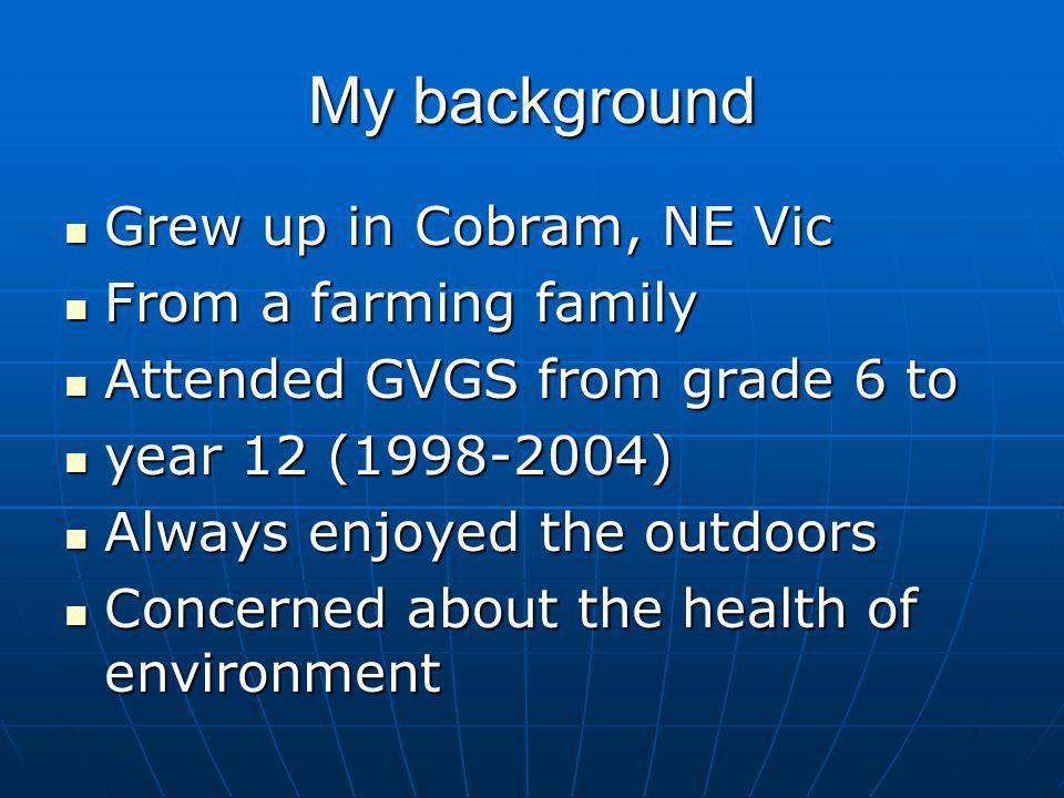 My background Grew up in Cobram, NE Vic Grew up in Cobram, NE Vic From a farming family From a farming family Attended GVGS from grade 6 to Attended G