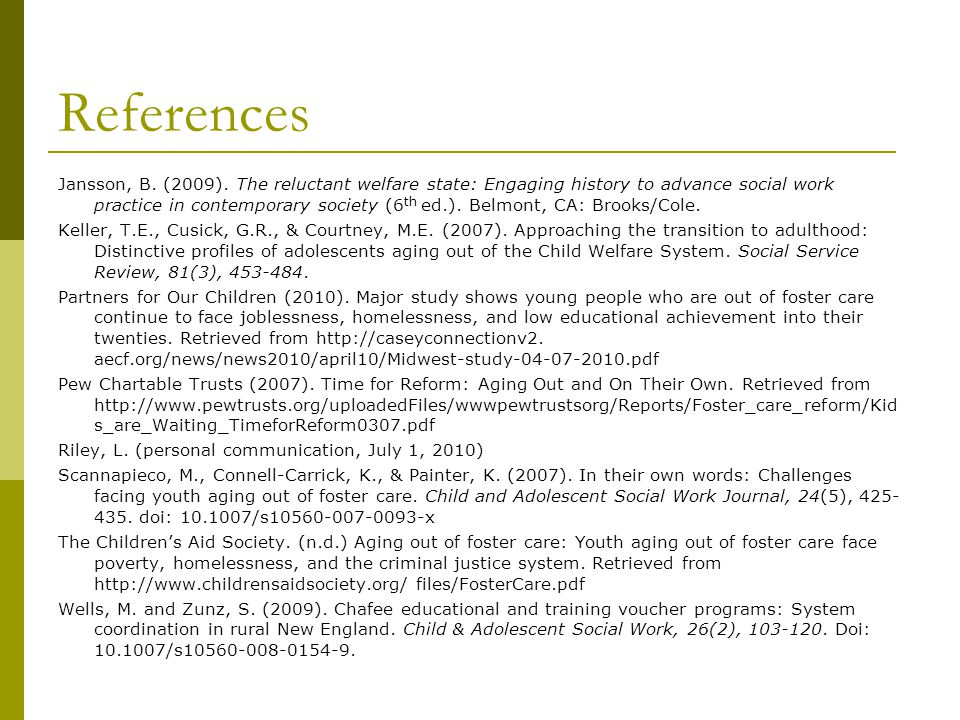References Adolescent program. (n.d.). Retrieved February 14, 2010 from http://www.dhhs.state.nh.us/DHHS/DCYF/adolescentprogram.htm An Act Relative to