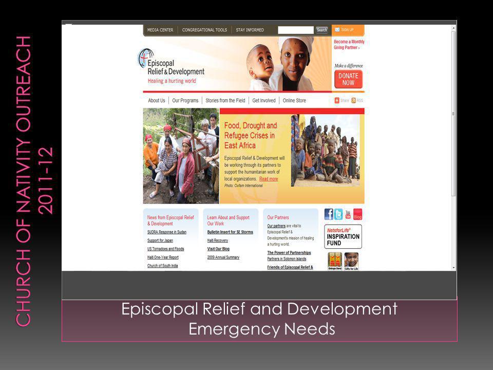 Episcopal Relief and Development Emergency Needs