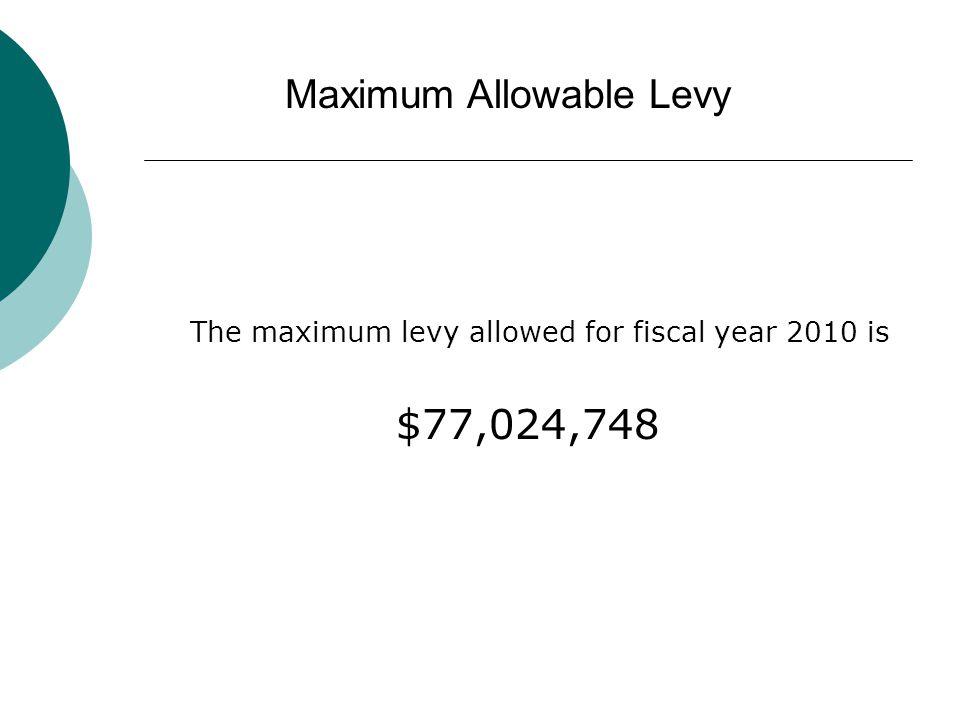 The maximum levy allowed for fiscal year 2010 is $77,024,748 Maximum Allowable Levy