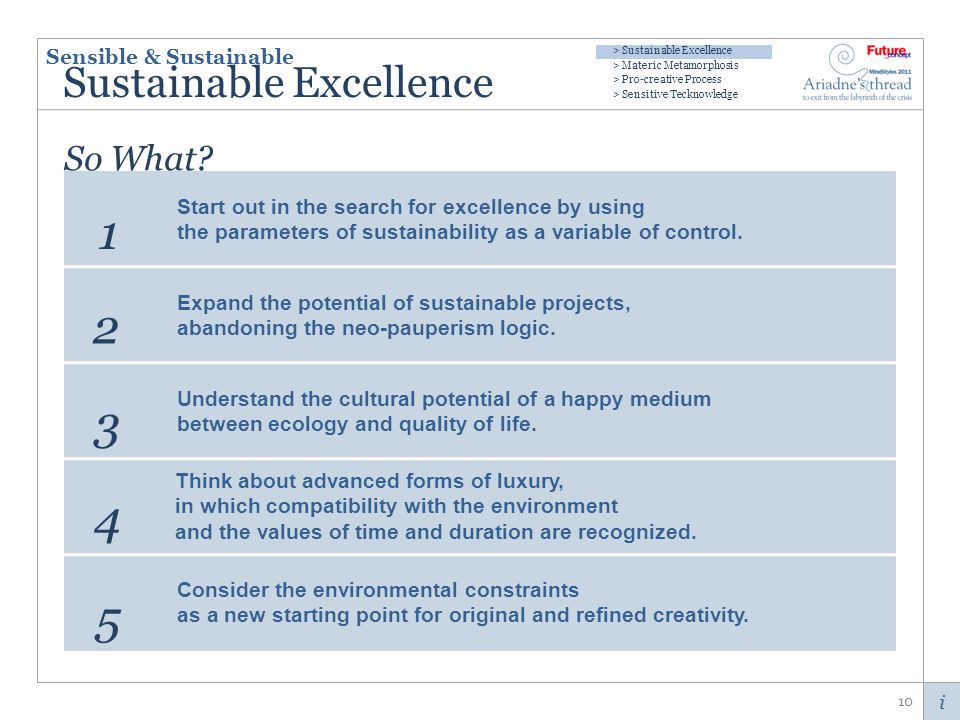 i Sustainable Excellence 10 1 2 3 4 5 So What.