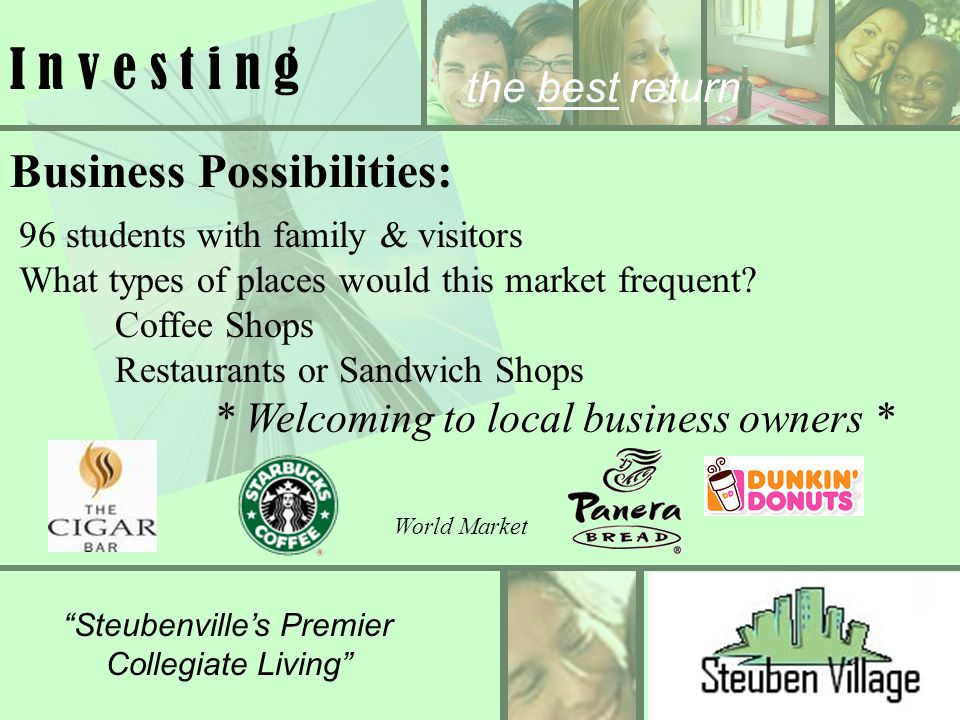 Steubenvilles Premier Collegiate Living the best return I n v e s t i n g Business Possibilities: 96 students with family & visitors What types of pla