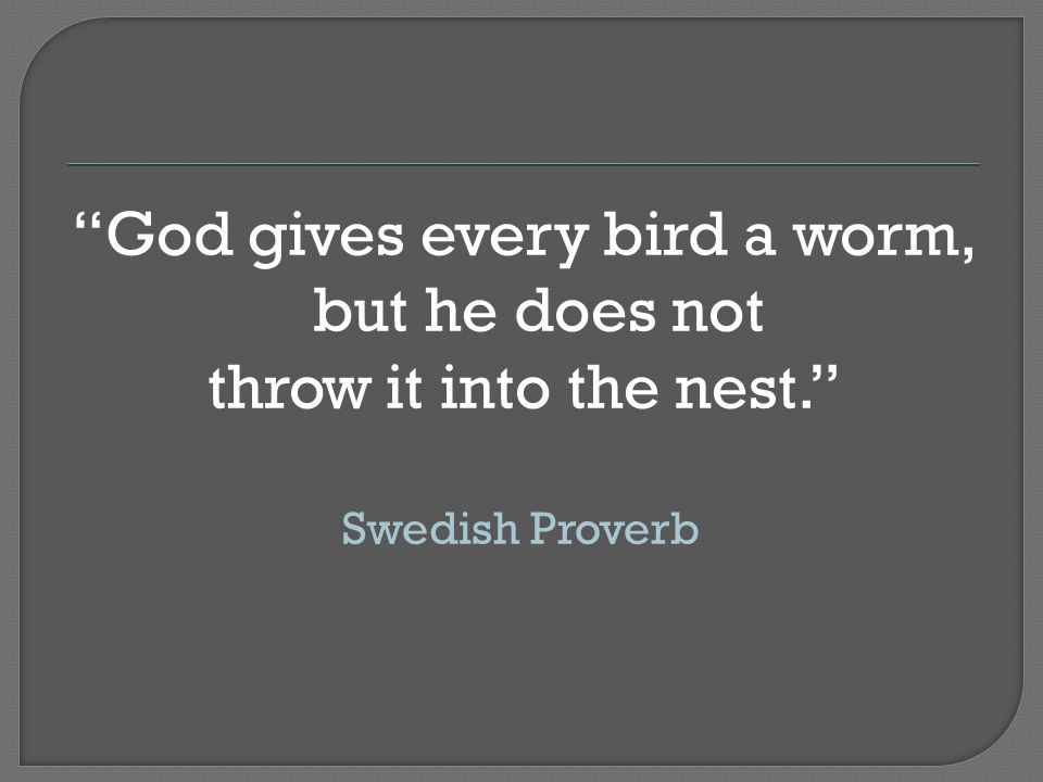 God gives every bird a worm, but he does not throw it into the nest. Swedish Proverb