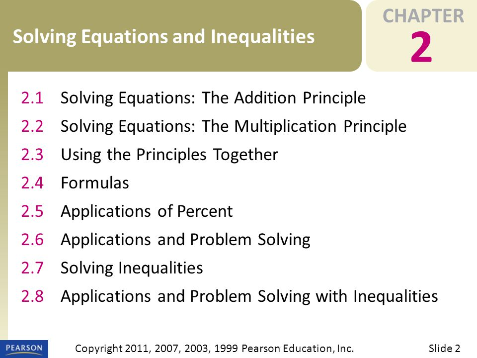 OBJECTIVES 2.6 Applications and Problem Solving Slide 3Copyright 2011, 2007, 2003, 1999 Pearson Education, Inc.