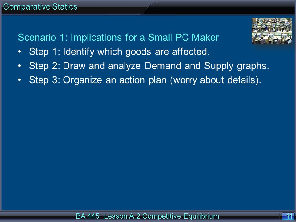 11 Scenario 1: Implications for a Small PC Maker Step 1: Identify which goods are affected.