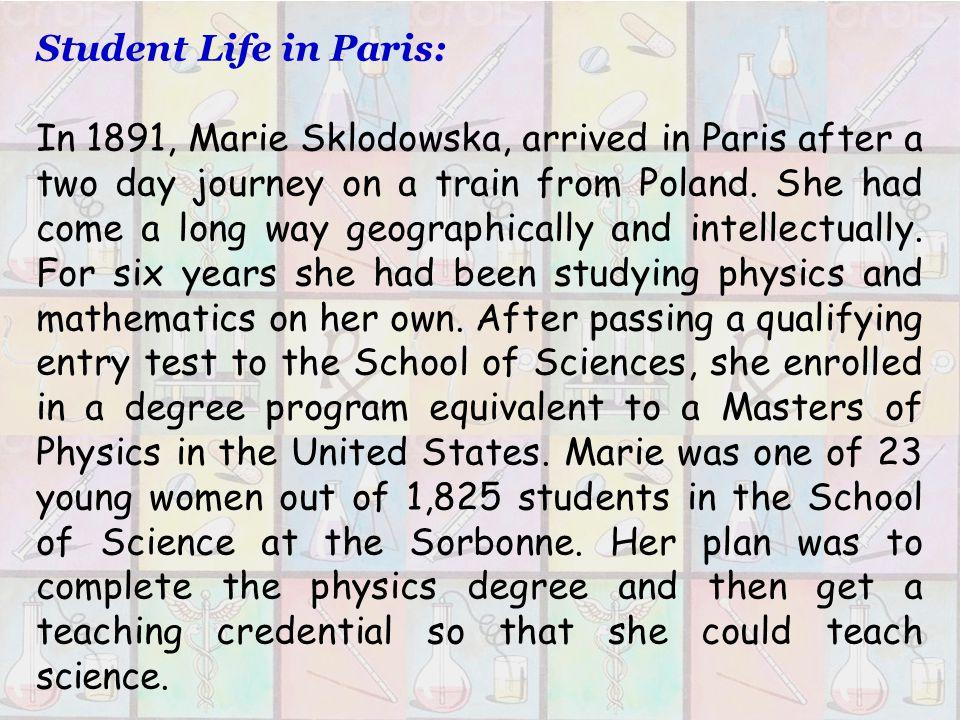 Marie Sklodowska – Curies Main Life Marie Sklodowska – Curies Main Life