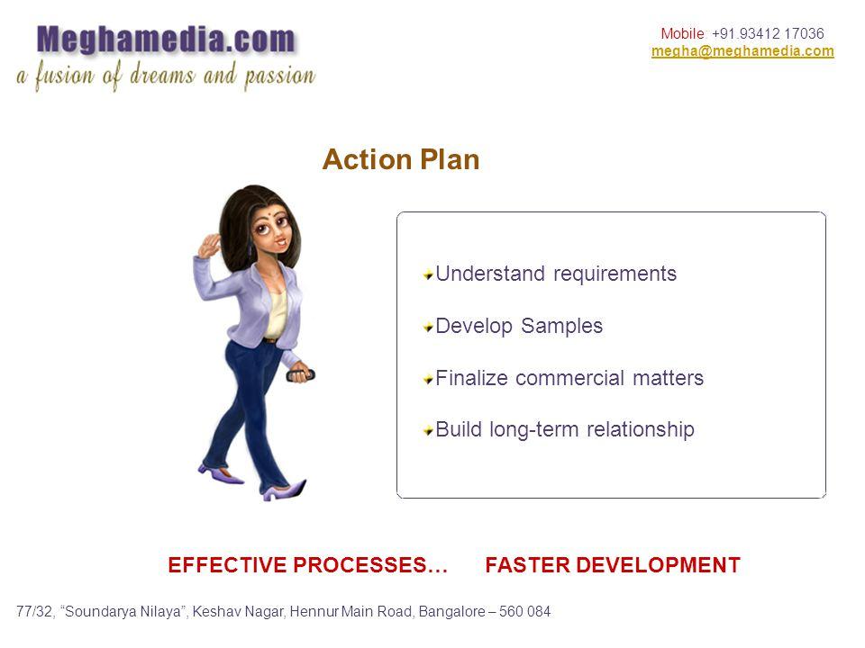 Mobile: +91.93412 17036 megha@meghamedia.com 77/32, Soundarya Nilaya, Keshav Nagar, Hennur Main Road, Bangalore – 560 084 Action Plan EFFECTIVE PROCESSES… FASTER DEVELOPMENT Understand requirements Develop Samples Finalize commercial matters Build long-term relationship