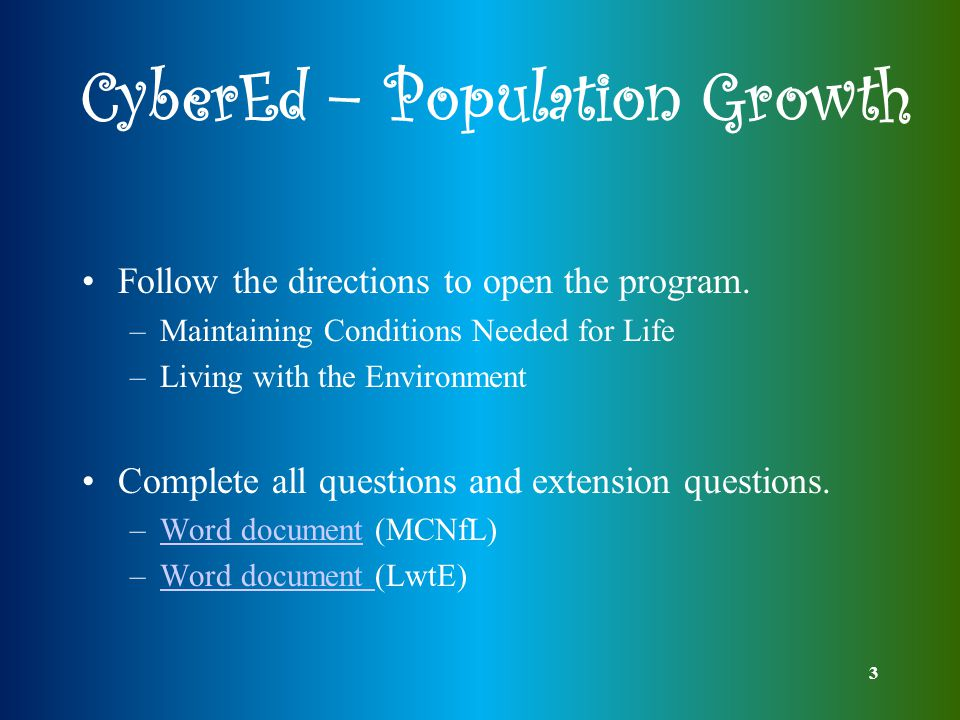 3 CyberEd – Population Growth Follow the directions to open the program.