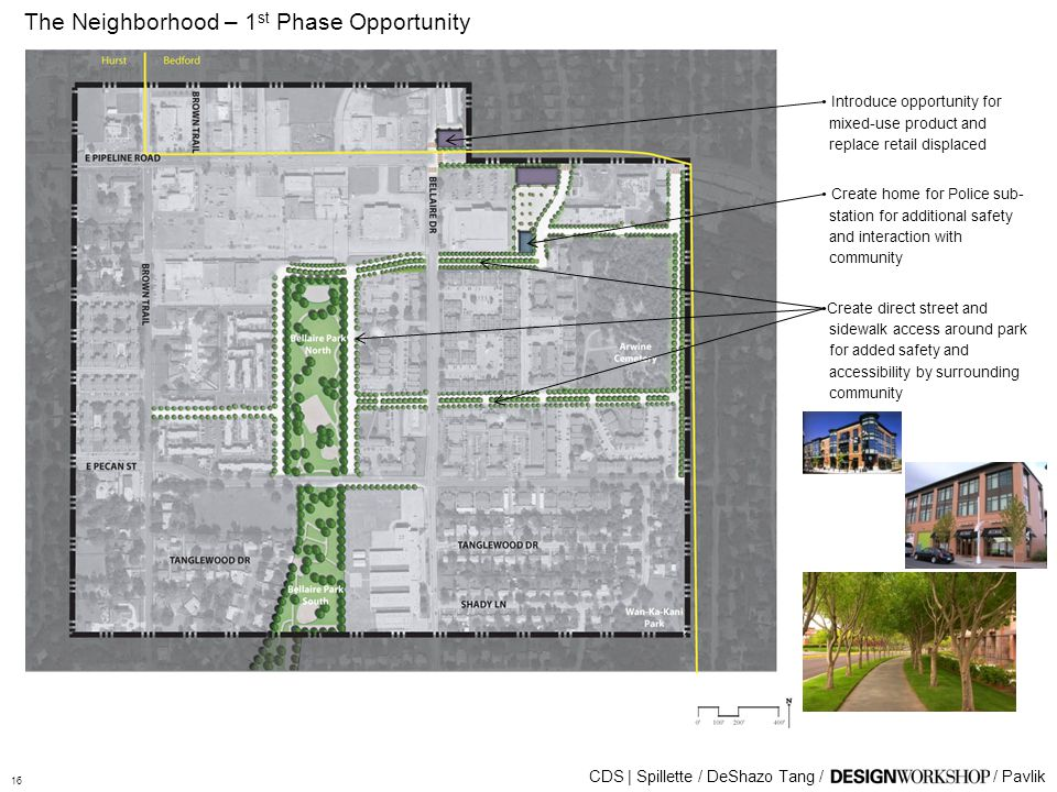 The Neighborhood – 1 st Phase Opportunity CDS | Spillette / DeShazo Tang // Pavlik Introduce opportunity for mixed-use product and replace retail displaced Create home for Police sub- station for additional safety and interaction with community Create direct street and sidewalk access around park for added safety and accessibility by surrounding community 16