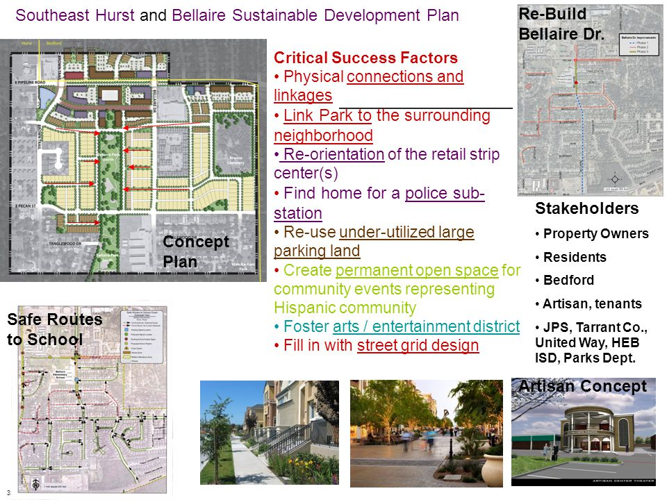 Southeast Hurst and Bellaire Sustainable Development Plan 33 Safe Routes to School Re-Build Bellaire Dr.