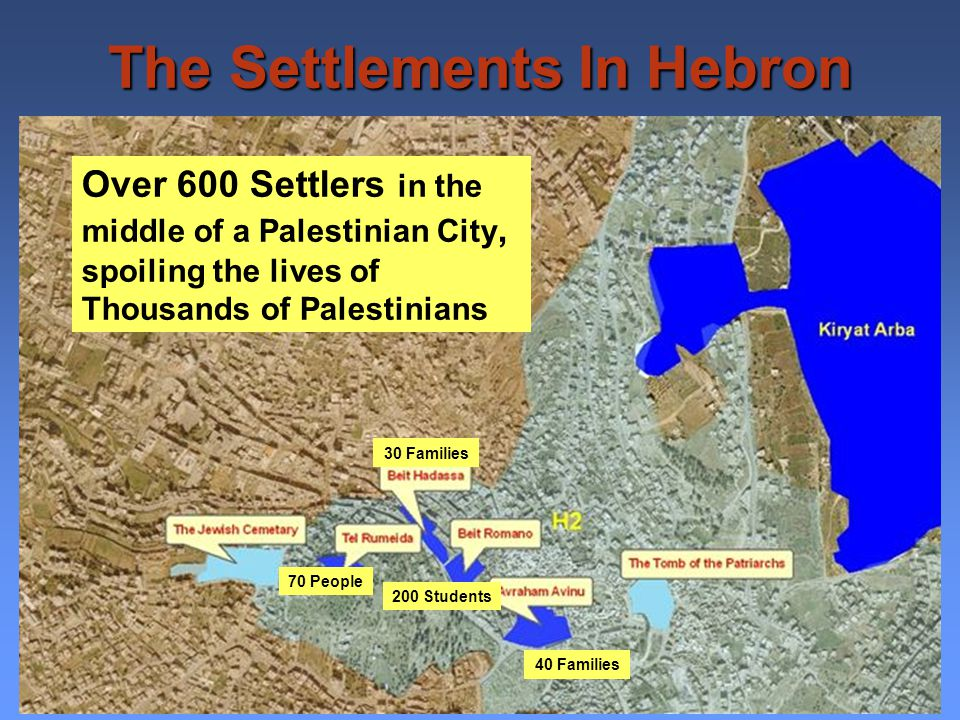 Hebron Protocol 17/1/1997 Between Israel and the Palestinian Authority divided the city: H1 Area – Palestinian control 18 km 2 130,000 Palestinians H2 Area – Israeli control 4 km 2 35,000 Palestinians 600 Israeli Settlers