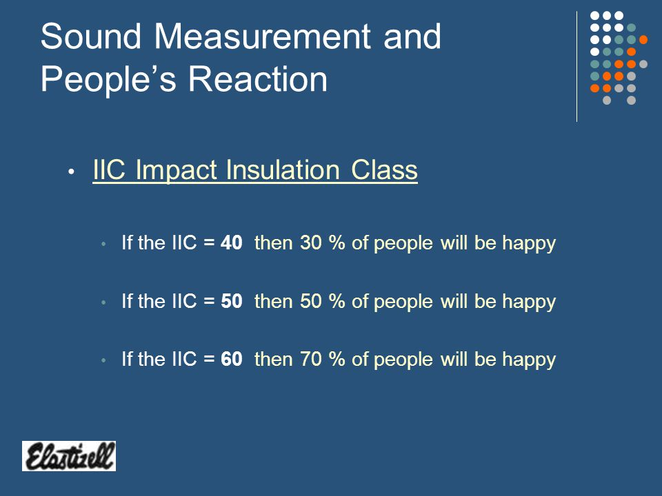 Sound Measurement and Peoples Reaction STC Sound Transmission Class If the STC = 35 clearly hear conversation If the STC = 45 conversation is muddled