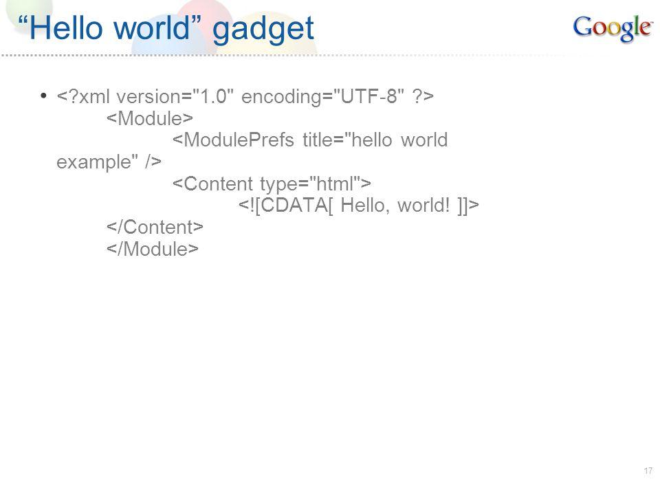 17 Hello world gadget
