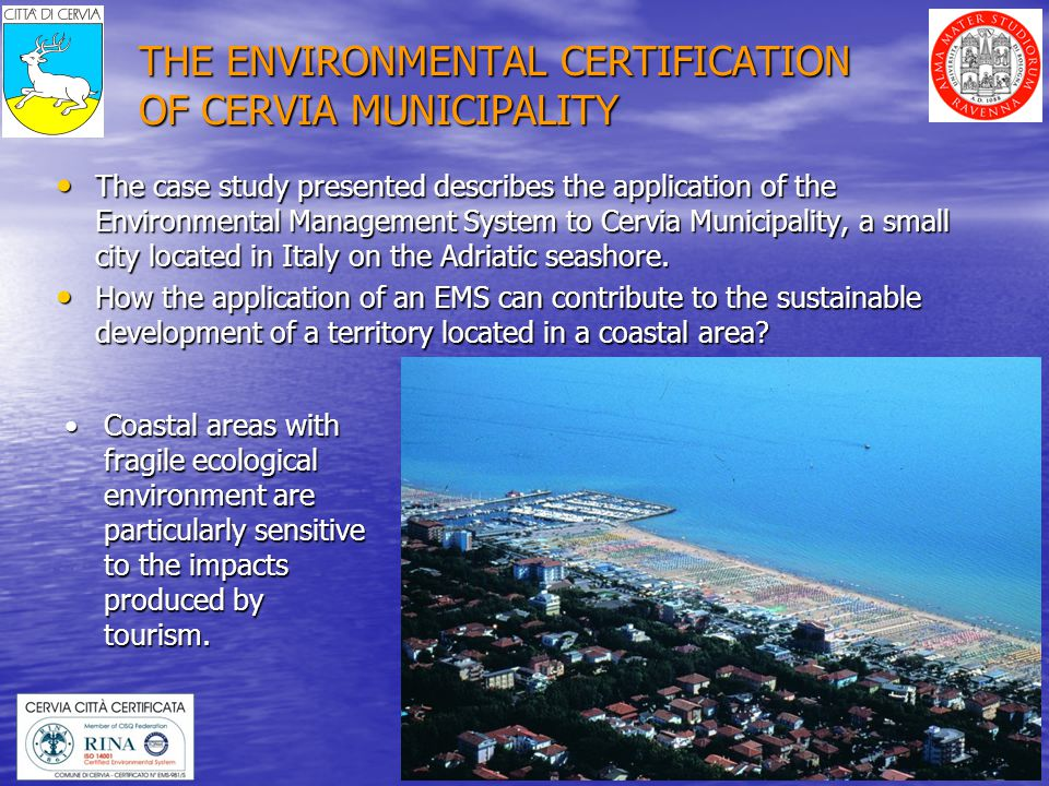23 SUSTAINABILITY INDICATORS FOR CERVIA INDICATORSUNITS CERVIA VALUE ITALY VALUE Pedestrian area m 2 /inhabitant 2,10,18 Limited traffic zone m 2 /inhabitant 16,12,5 Bicycle track m/inhabitant0,50,1 Available green area m 2 /inhabitant 11010 Motorization rate car/inhabitant0,620,56 Ecological municipality vehicles % on total 29%- Parking place place/inhabitant0,15- Natural gas consumption m 3 /inhabitant*die 1384- Water consumption litre/inhabitant*die450325 Waste collected kg/inhabitant1000500 Selected waste collection % on total 38%20% The significant environmental aspects, described in the IER, are identified by using a set of sustainability indicators: