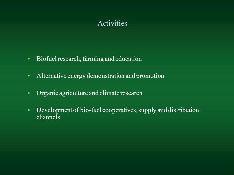Biofuel research, farming and education Alternative energy demonstration and promotion Organic agriculture and climate research Development of bio-fue