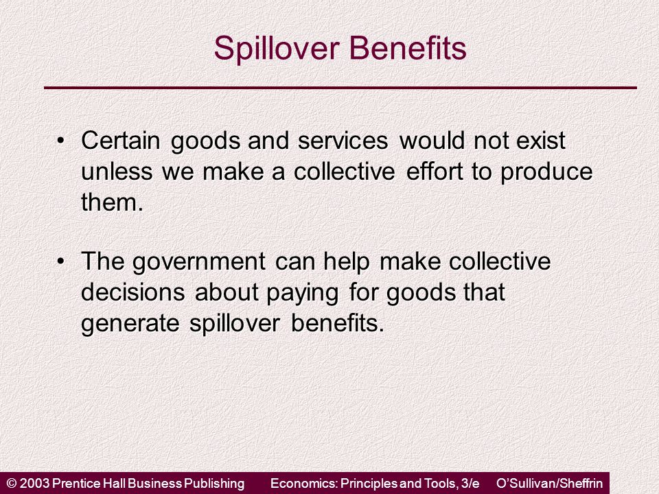 © 2003 Prentice Hall Business PublishingEconomics: Principles and Tools, 3/e OSullivan/Sheffrin Spillover Benefits Certain goods and services would not exist unless we make a collective effort to produce them.Certain goods and services would not exist unless we make a collective effort to produce them.