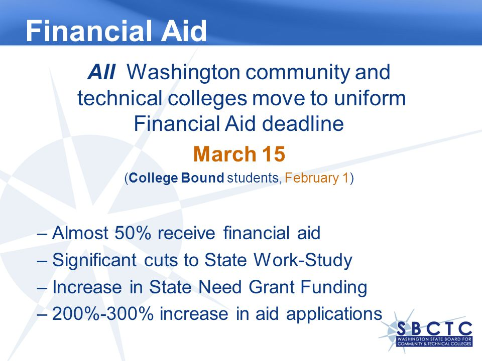 Financial Aid All Washington community and technical colleges move to uniform Financial Aid deadline March 15 (College Bound students, February 1) –Almost 50% receive financial aid –Significant cuts to State Work-Study –Increase in State Need Grant Funding –200%-300% increase in aid applications