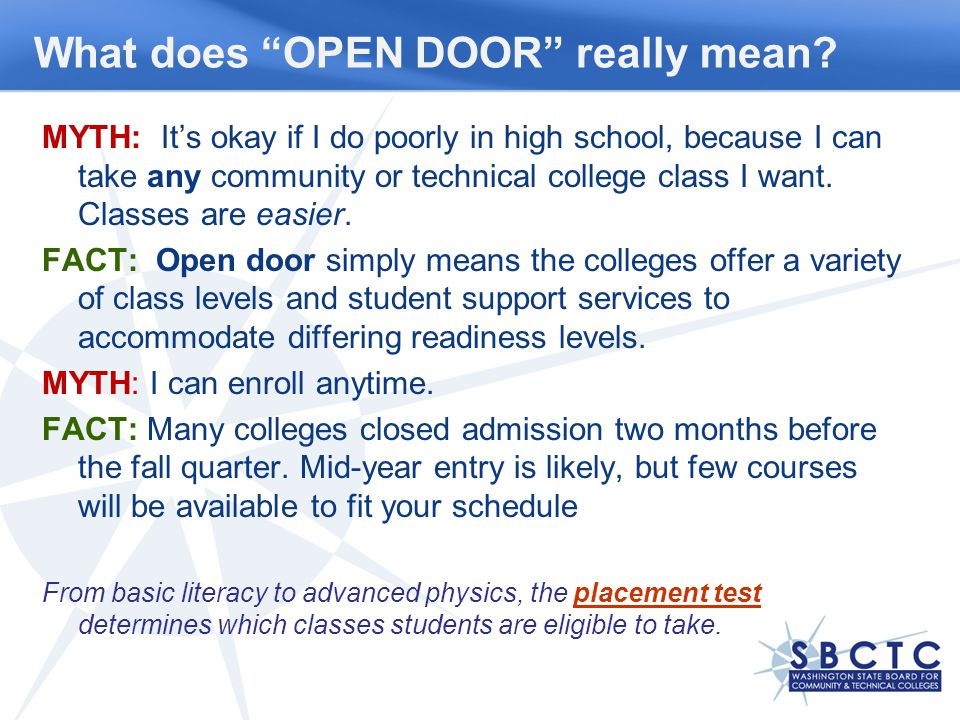 What does OPEN DOOR really mean.
