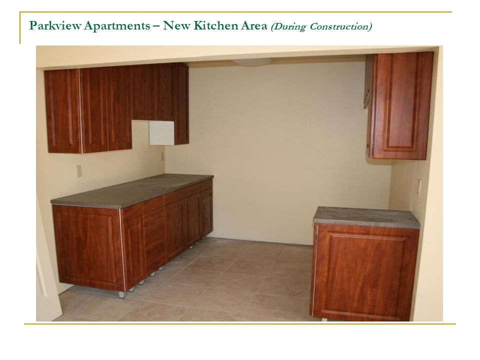 Parkview Apartments – New Kitchen Area (During Construction)