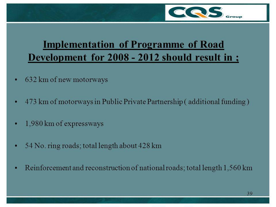 39 Implementation of Programme of Road Development for 2008 - 2012 should result in ; 632 km of new motorways 473 km of motorways in Public Private Partnership ( additional funding ) 1,980 km of expressways 54 No.